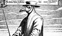 Typical attire worn by physicians treating the Black Death in the Middle Ages.
