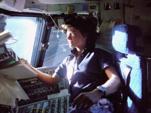 American astronaut Sally Ride up in space in 1983. Photo courtesy of NASA.