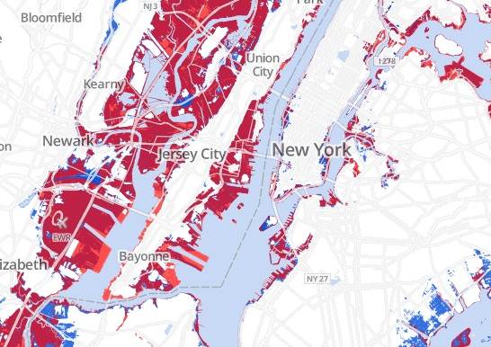 """""""One-hundred year"""" flood zones are areas estimated to have a 1% chance of flooding each year. Here, those zones are compared to FEMA estimates of actual Sandy flooding. Image and caption courtesy of project WNYC."""