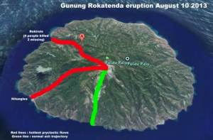 Map of likely flow paths; courtesy of earthquakereport.com