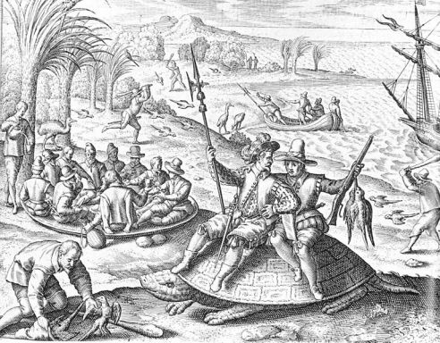 Dutch sailors hunting Mauritius' giant tortoise, dodo, and Mascarene grey parakeet, all of which were extinct within 150 years of this 16th century woodcut.