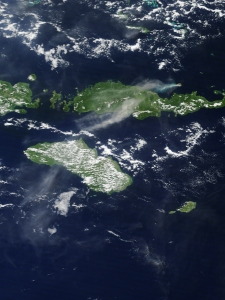A Nasa satellite image shows rokatenda smoking  casually in March 2013.