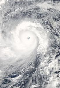Satellite image of the record-setting tropical cyclone Haiyan that struck the Philippines in early November. Photo courtesy of NASA>