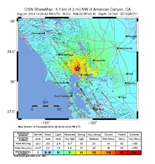 An intensity map of the Aug. 24 earthquake in California. Credit: USGS
